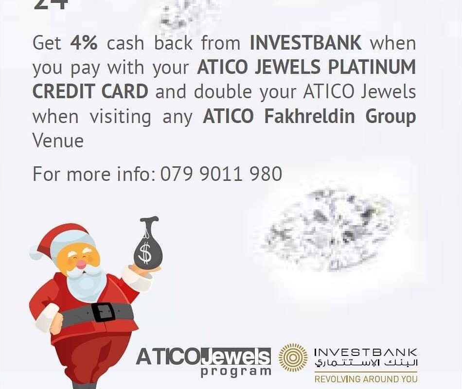 ATICO Jewels Platinum Credit Card 4% back from bank on 24th of December, 2018
